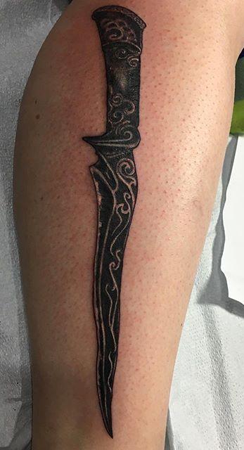 Today's tattoo#tattoo#tattoos#dagger#daggertattoo #blackandgrey #jwtattoos_edited