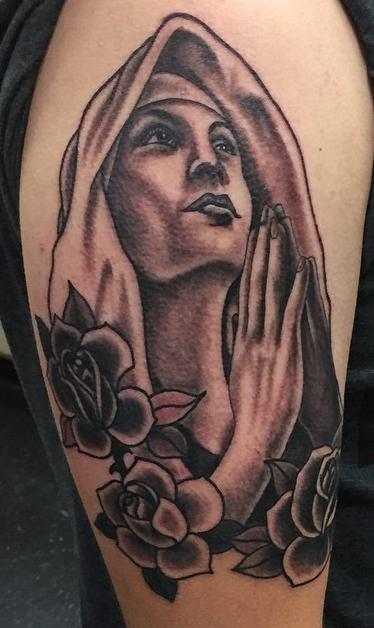 Instagram - Todays work #tattoos #tattoo #blackandgreytattoos #virginmary#roses