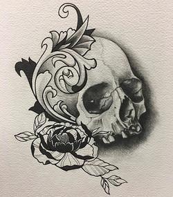 Finished drawing #sandiegotattooartist #drawing #skull#tattoos #pencildrawing