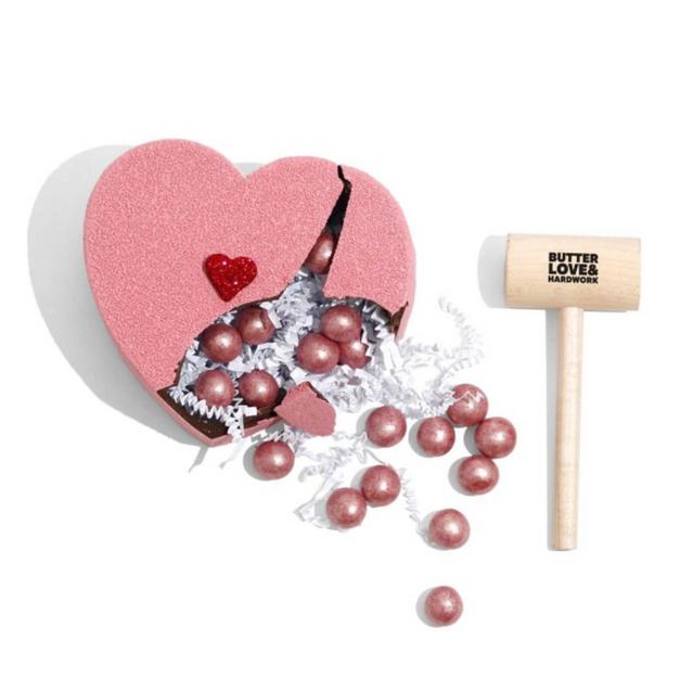 Butter Love & Hardwork Valentine's Day Breakable Chocolate Heart