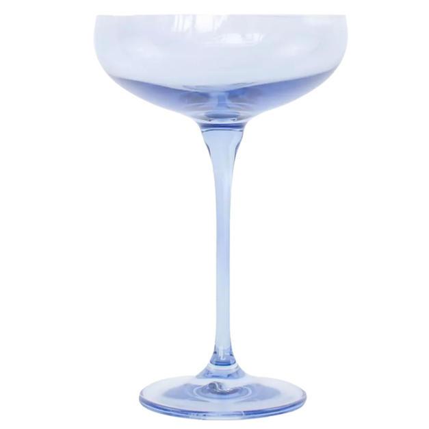 Estelle Colored Glass Champagne Coupe Set, Cobalt Blue