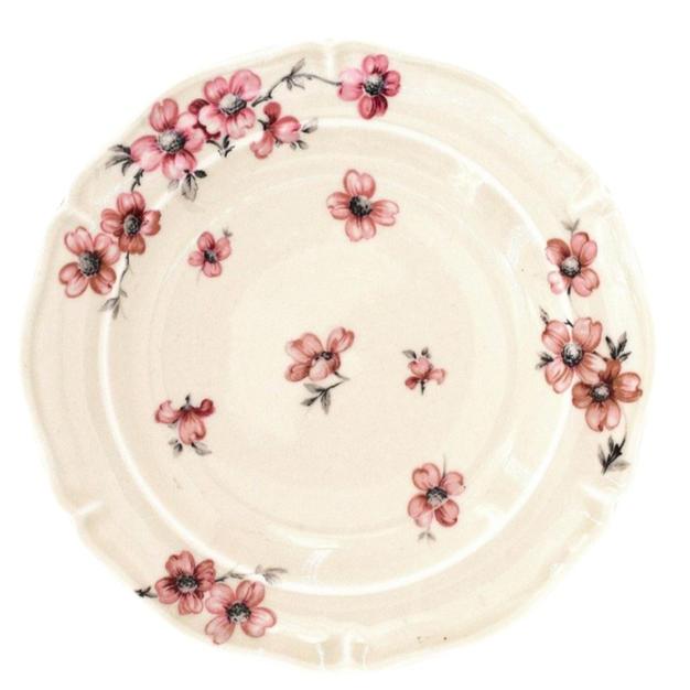 Set of 5 Cream Floral Limoges Plates