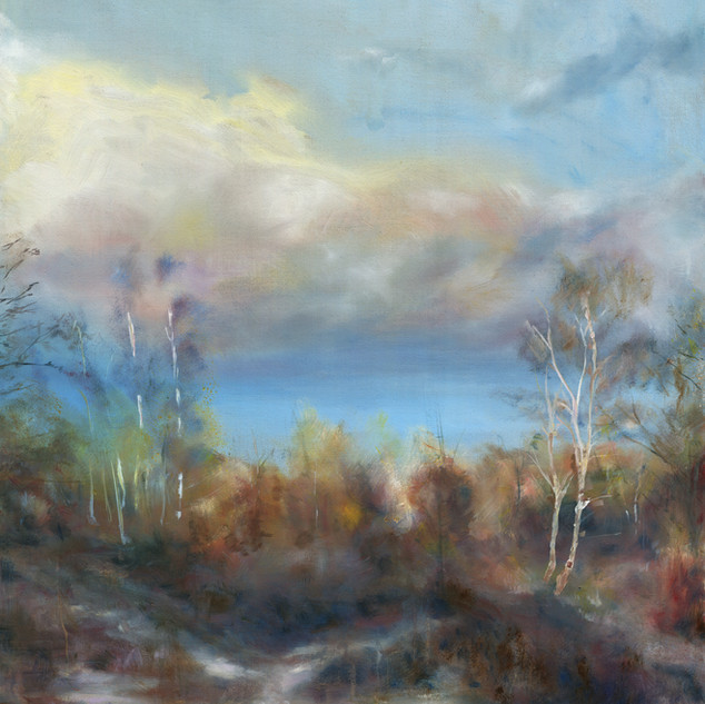 last light on a winters day oil on canvas