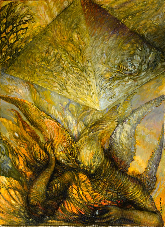 Pyramid Builders; oil on canvas; 32x44; $4,000; Katia J. Levant_edited