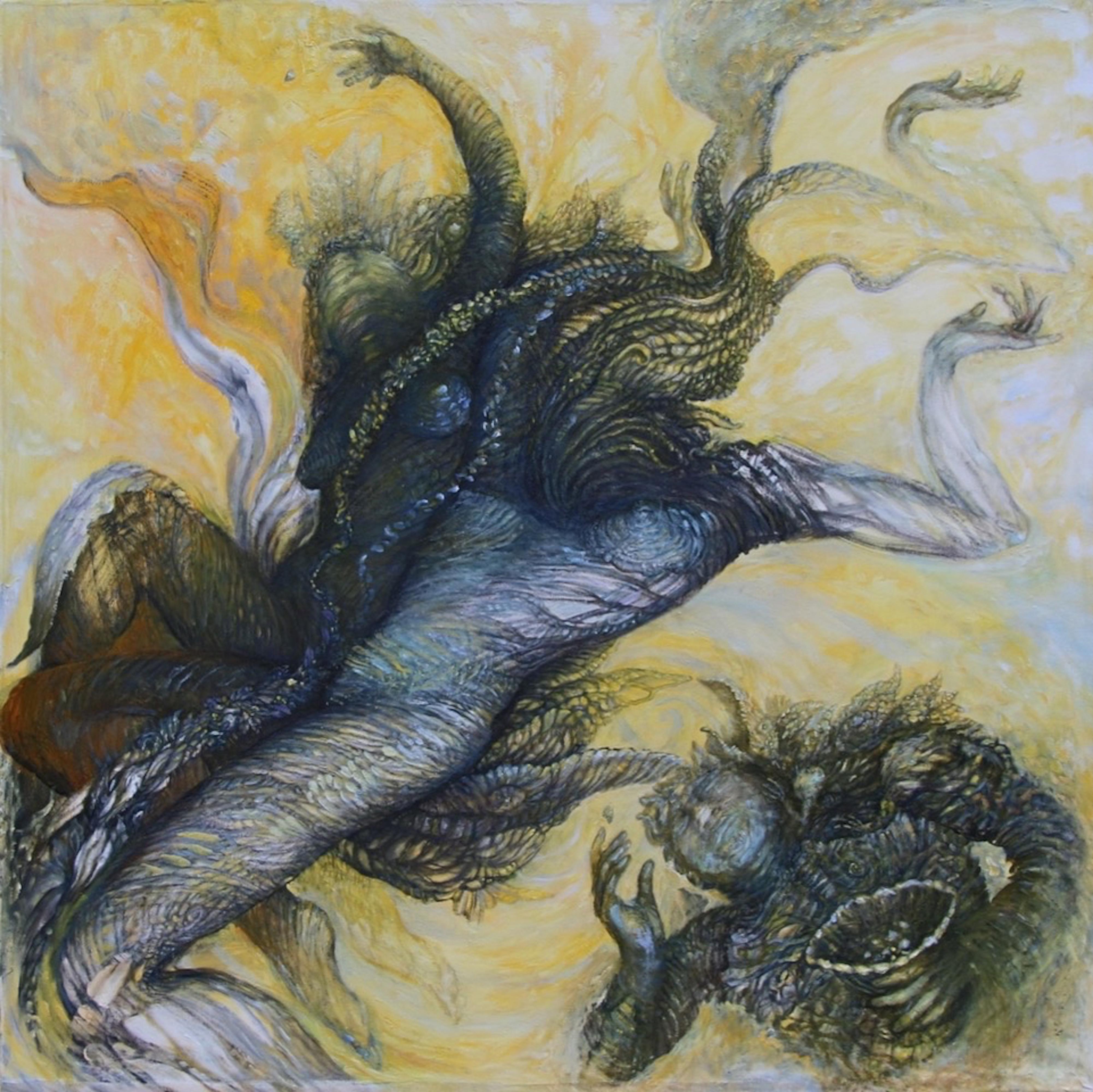 Katia J. Levanti, _Seeds of a Hologram_, oil on canvas, 38_x38_,  $3,700