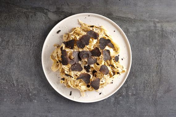 Decadent Truffle Pasta with fresh black truffles