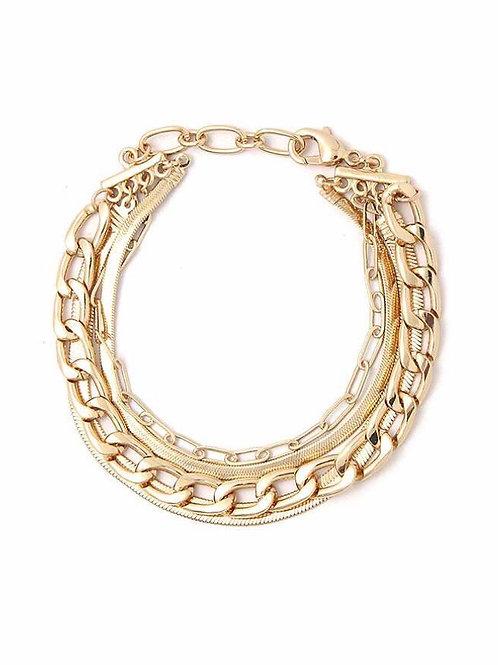 Layered Metal Chain Bracelet