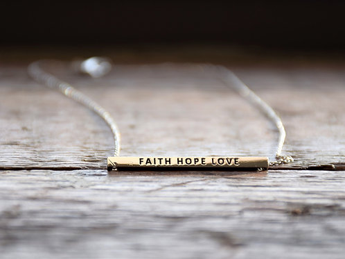 Faith, Hope, Love Bar Necklace