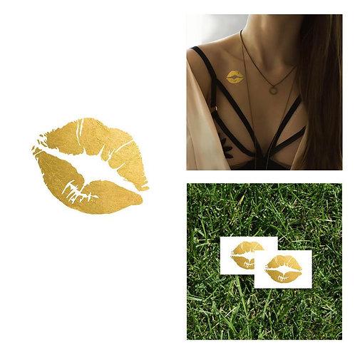 Gold Metallic Kiss Tattoo (2pk)