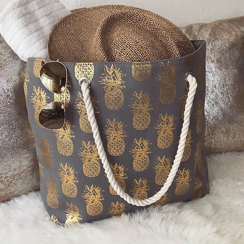 Gold Pineapple Canvas Beach Tote