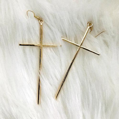 Oversized Gold Cross Drop Earrings