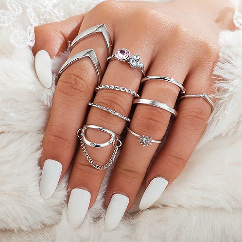 Assorted 9 pc Ring Set - Silver