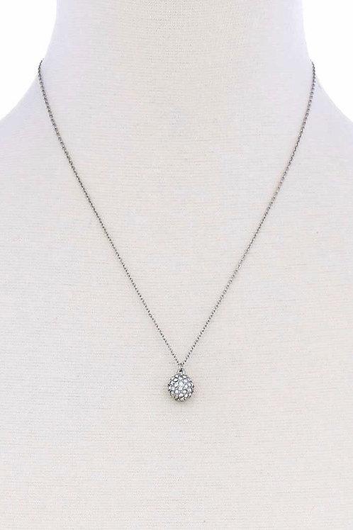 Rhinestoned Orb Pendant Necklace
