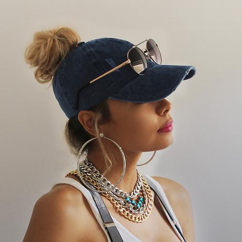 Distressed Denim Ponytail Hat