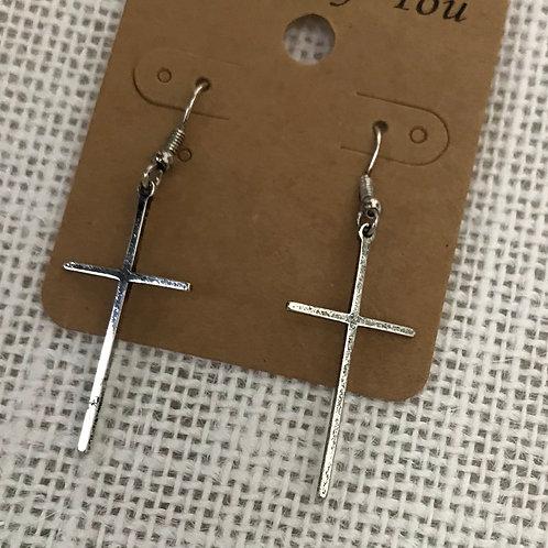 Rustic Cross Drop Earrings - Silver