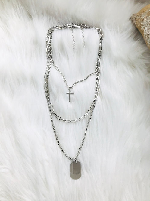 Layered Cross Charmed Dog Tag Necklace