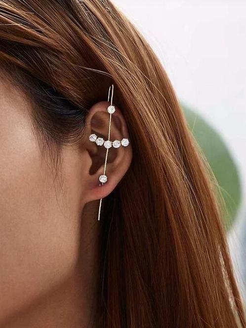 Rhinestoned Cross Ear Bar Cuff