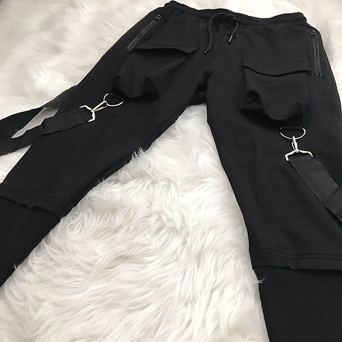 Modern Harem Joggers with removable suspenders