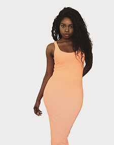 Ribbed Bodycon Midi Dress - TALL