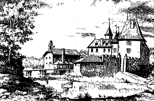 Chateau de Grilly pen and ink drawing