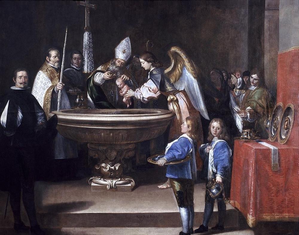Cuadro de un bautismo en el que un obispo bautiza a un niño sostenido por un ángel.