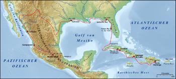 Un mapa de Norteamérica y el Caribe muestra la ruta de Cabeza de Vaca.