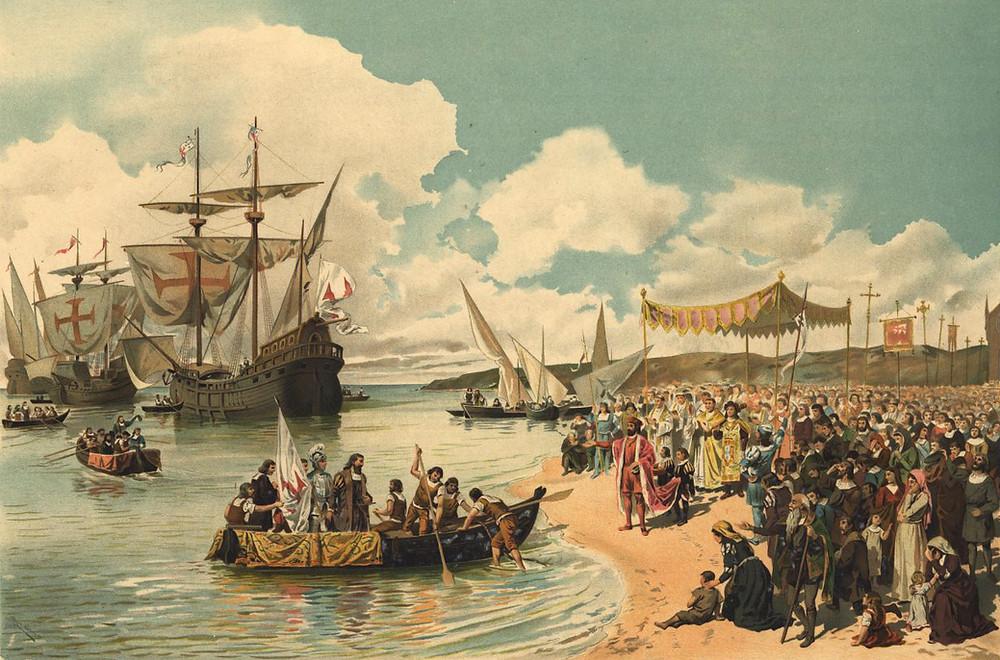 Cuadro representando la salida hacia la India de los barcos de Vasco de Gama.