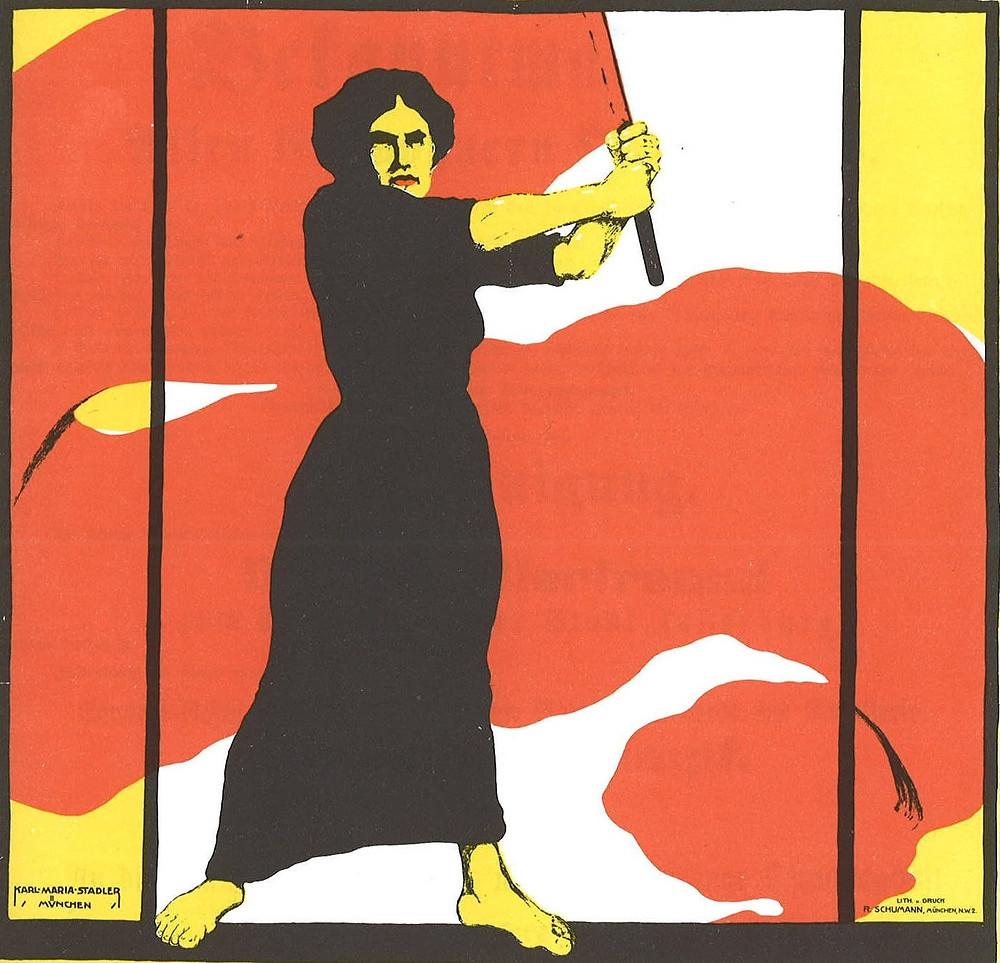 Poster representando a una mujer que ondea una bandera.