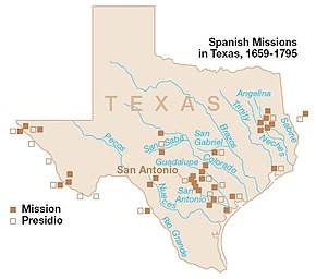 Mapa de las misiones españolas en Texas.
