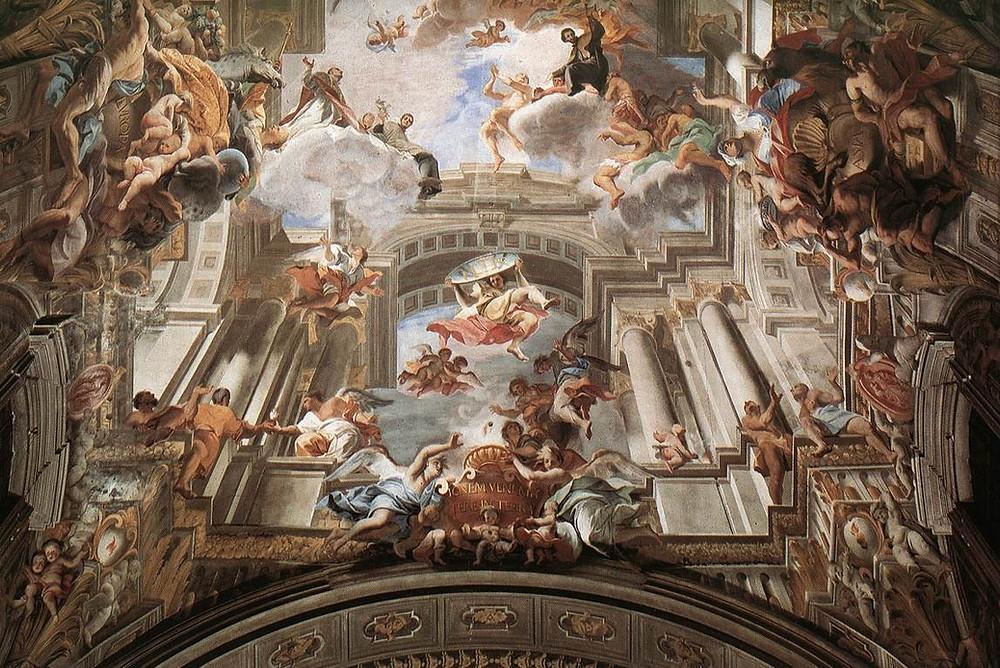 Alegoría pintada en techo sobre los jesuitas.