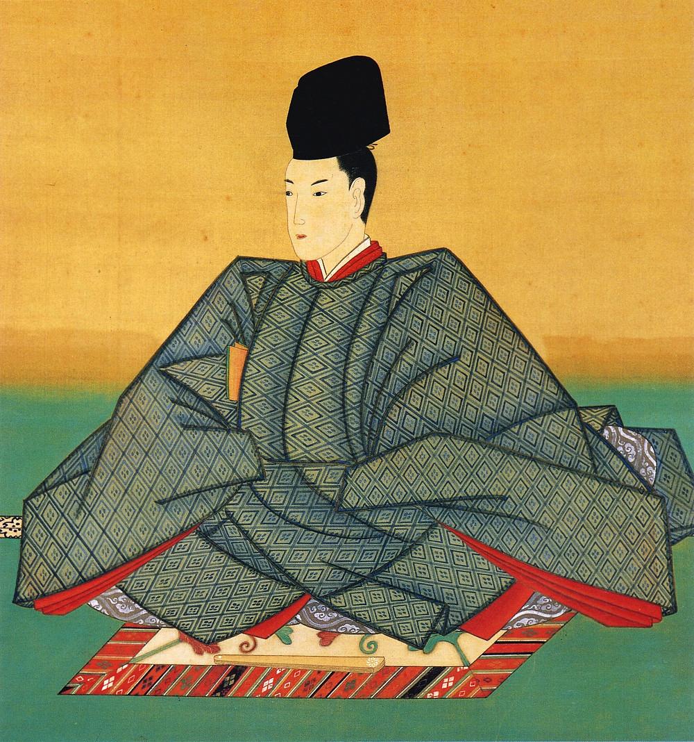 Dibujo de un emperador japonés vistiendo ropas tradicionales.