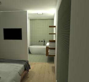 Doorkijk naar de open badkamer