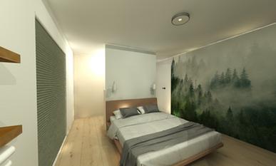 Slaapkamer met tussenwand