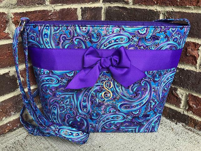 Blue&Purple Paisley Small Crossbody w/ single letter monogram