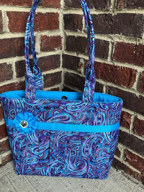 Blue & Purple Paisley Pleated Quick Order Handbag