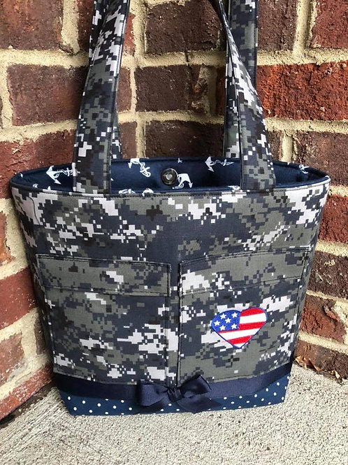 Ready to Ship Navy Anchor Handbag