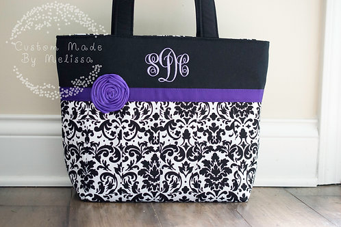 Custom Damask Pleated Handbag