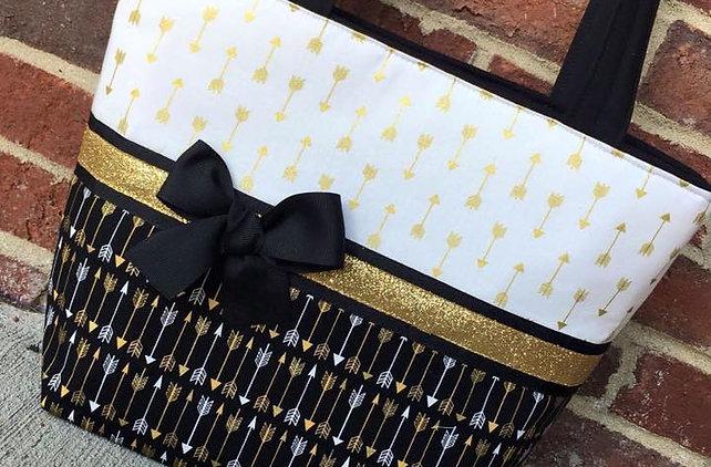 Black and Gold Arrow Handbag