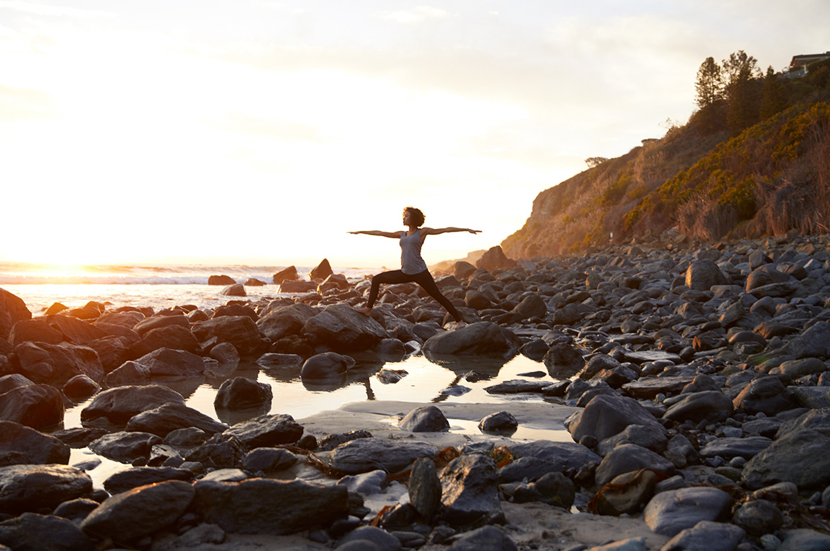 yoga rocky beach