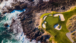 Drone view of the pebble beach golf course in Monterey California