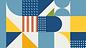 סטריפ אבסטרקטי שמכיל נקודות לבנות אל רקע כחול, פסים כתומים ומשולשים צהובים