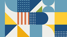 אלמנט גרפי אבסטרקטי שמורכב מצורות צבעוניות של פסים, עיגולים ומשולשים