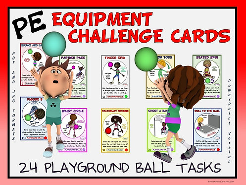 PE Equipment Challenge Cards - 24 Playground Ball Tasks (includes PowerPoint)
