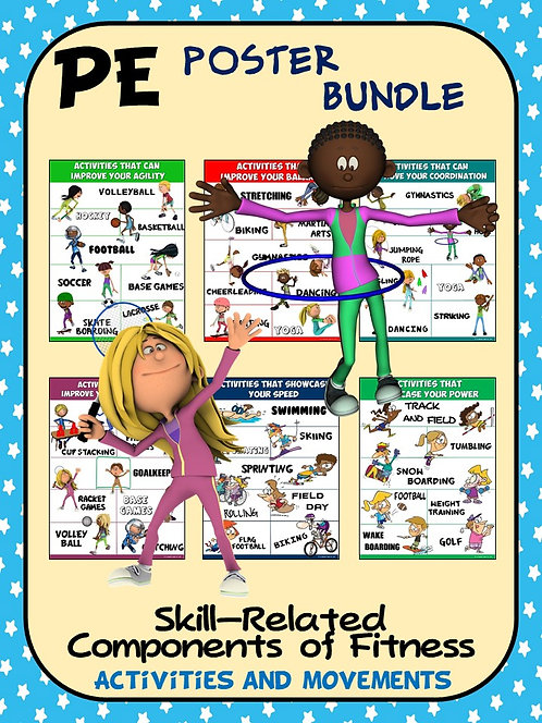 PE Poster Bundle: Skill Components of Fitness- 13 Activity and Movement Posters