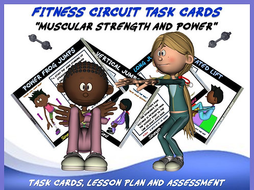 """Fitness Circuit Task Cards- """"Muscular Strength and Power"""""""