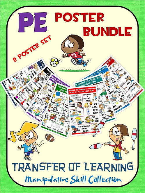 PE Poster Bundle: Transfer of Learning- Manipulative Skill Collection; 8 Visuals