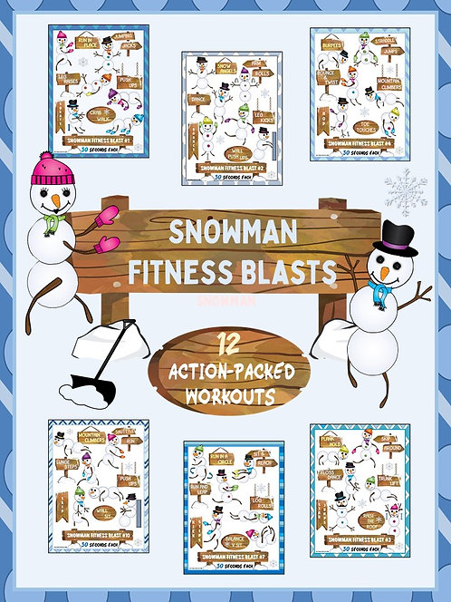 Snowman Fitness Blasts- 12 FUN Workouts- Great for Distance Learning