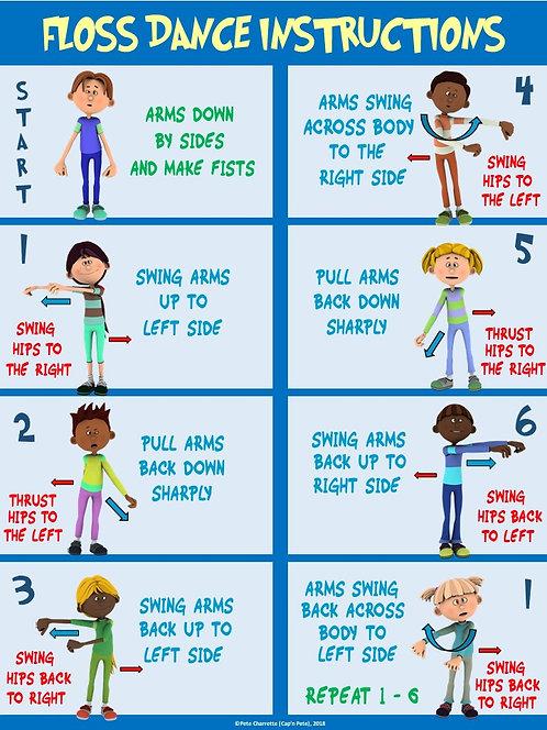 PE instructional Poster: Floss Dance Instructions