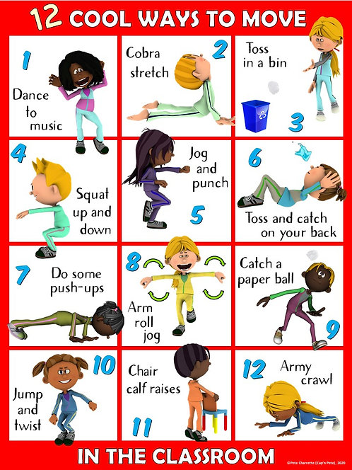 Moving in the Classroom Visual Series- 12 COOL Ways to Move in the Classroom