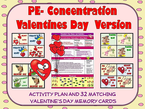 PE Concentration: Valentine's Day Version- Activity Plan with 32 Matching Cards